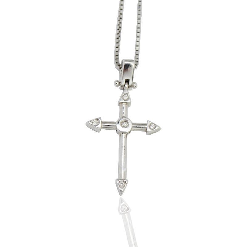selezione migliore 0244e 4be5d Collana in oro bianco con ciondolo croce con terminali a punte mm 23x12 con  diamanti naturali ct. 0,03
