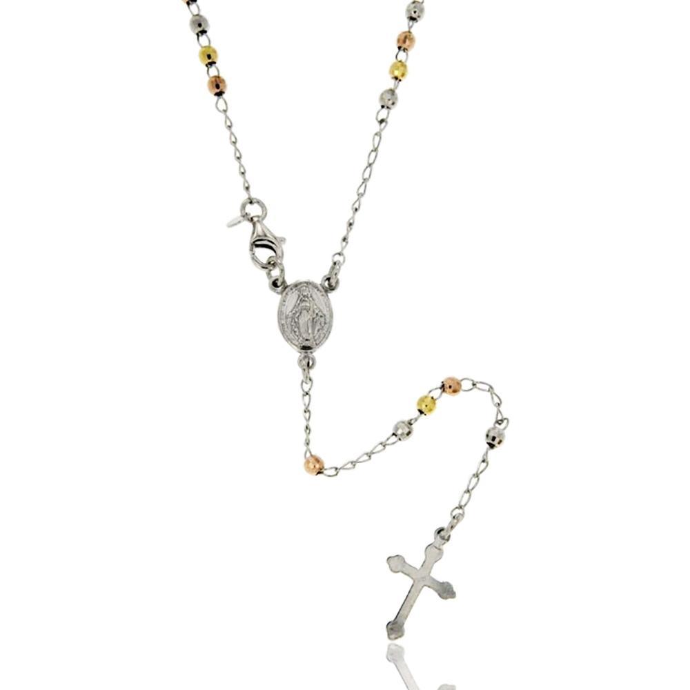 10a162d888004b Collana rosario con pallina faccettata 3 mm placcata rodio, oro giallo e  rosa cm 50 in argento 925