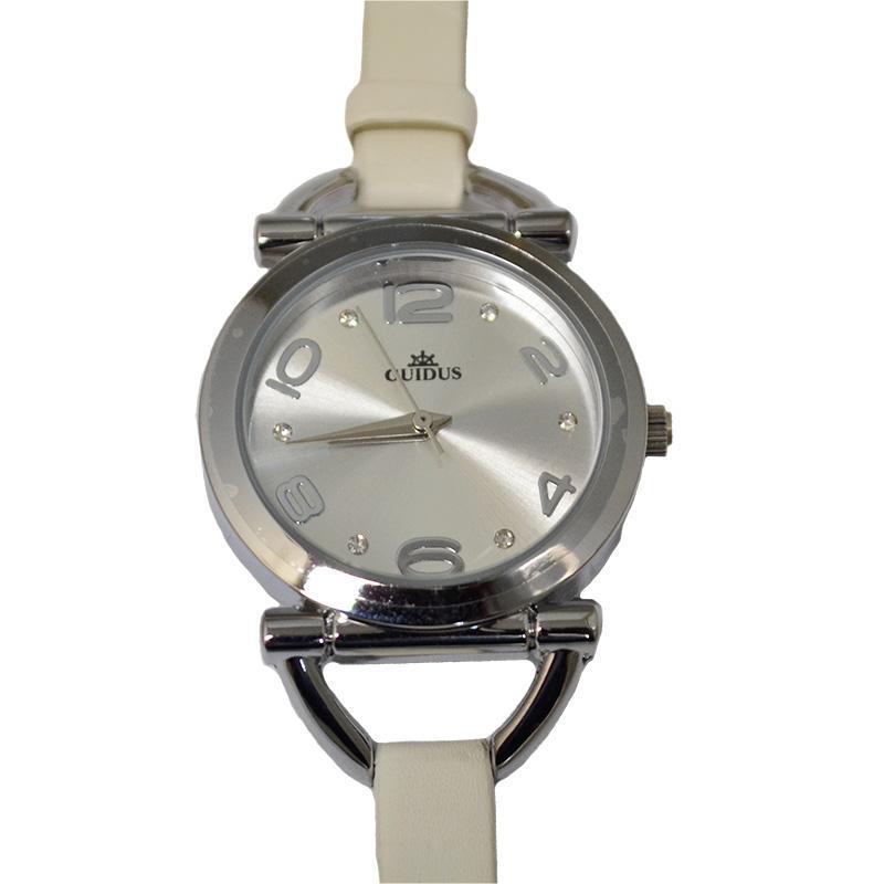 Orologio lady mm 32 con cinturino pelle bianco fondo argentè e strass