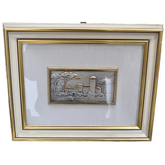 Quadro in legno laccato con lamina argento 925