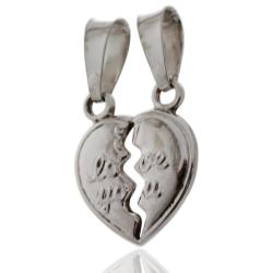 Ciondolo Cuore divisibile Love You mm 13x16 in argento 925 rodiato