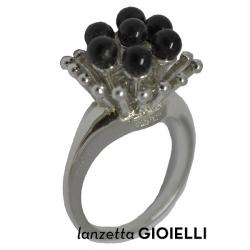 ANELLO DONNA BENETTON IN ARGENTO 925 RODIATO E ONICE NERA