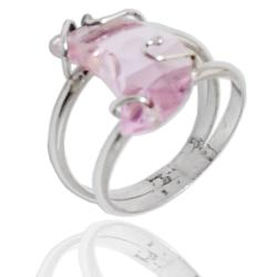 Anello in argento 925 rodiato doppio gambo con Luna in cristallo di Swarovski Light Rose