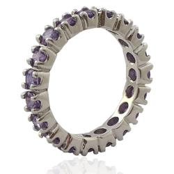 Anello veretta in argento 925 rodiato mm 3 con zirconi viola
