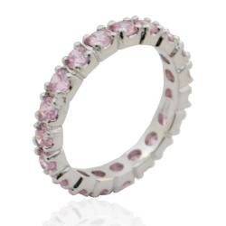 Anello eternity in argento 925 rodiato mm 3 con zirconi rosa