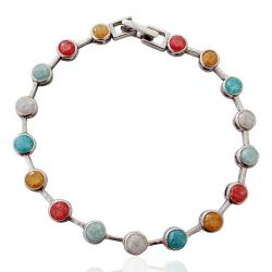 Bracciale tennis cipollino mm 5 cm 18 in argento 925 rodiato con zirconi cracked multicolor