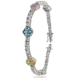 Bracciale tennis mm 3,5 in argento 925 rodiato con zirconi bianchi e fiori di 9 mm con zirconi multicolor