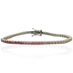 Bracciale tennis mm 2,5 in argento 925 dorato con zirconi rainbow