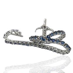 Bracciale tennis mm 2,5 in argento 925 rodiato con zirconi blu cm 19