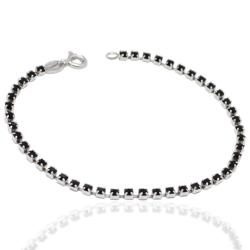 Bracciale tennis mm 2,5 in argento 925 con strass black cm 18