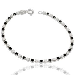 Bracciale tennis mm 2,5 in argento 925 con strass white and black cm 18
