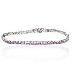 Bracciale tennis mm 3 in argento 925 rodiato con zirconi rosa cm 19