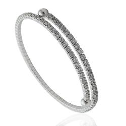 Bracciale tennis rigido mm 2 in argento 925 rodiato con zirconi bianchi