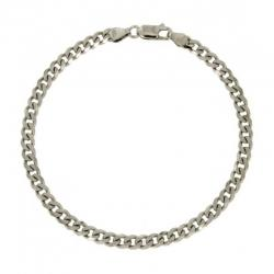 Bracciale catena grumetta mm 4 in argento 925 rodiato cm 20