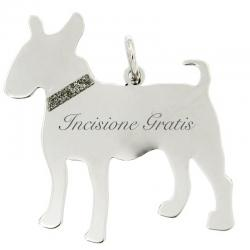 Ciondolo cane Bull Terrier mm 31x27 in argento 925 rodiato - Incisione Gratis -