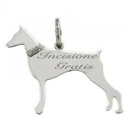Ciondolo cane doberman mm 27x24 in argento 925 rodiato -Incisione Gratis-