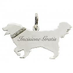 Ciondolo cane cane golden retriver happy mm 18x31 in argento 925 rodiato da personalizzare