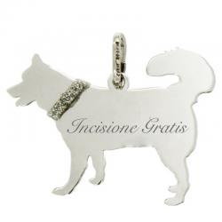 Ciondolo cane Husky mm 22x28 in argento 925 rodiato -Incisione gratis-