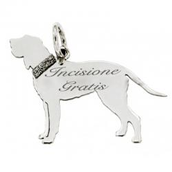 Ciondolo cane Spinone Italiano in argento 925 rodiato mm 20x24 -Personalizzabile-