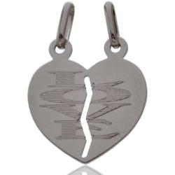Ciondolo Cuore divisibile double face mm 22x20 in argento 925 rodiato Decoro unico