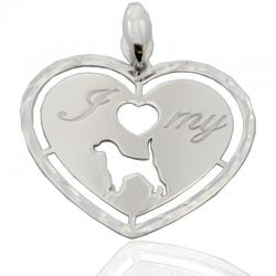 Ciondolo cuore i love my dog in argento 925 rodiato mm 30x28