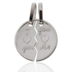 Ciondolo Amore Divisibile I love you - You love me in argento 925 rodiato -Personalizzabile-