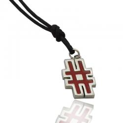 Ciondolo simbolo cancelletto e #hashtag mm 17x11 in argento 925 rodiato smaltato a fuoco