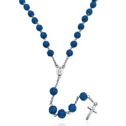 Collana rosario cm 60 argento 925 rodiato con sfere zirconate mm 6 capri blue