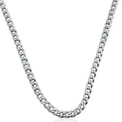 Collana catena grumetta mm 3 in argento 925 rodiato cm 44