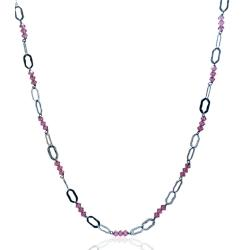 Collana per donna cm 48 in argento 925 rodiato con inserti in cristalli Swarovski light rose mm 4