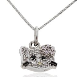 Collana Hello Kitty in argento 925 rodiato con zirconi colorati