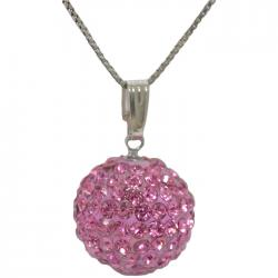 COLLONA DONNA IN ARGENTO 925 RODIATO CON SFERA MM 15 STRASS SWAROVSKI LIGHT ROSE