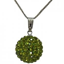 COLLONA DONNA IN ARGENTO 925 RODIATO CON SFERA MM 15 STRASS SWAROVSKI PERIDOT