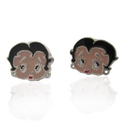 Orecchini a lobo Betty Boop in argento 925 e smalti a fuoco mm 12x10