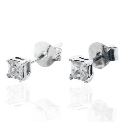Orecchini princess in argento 925 rodiato con zirconi bianchi quadrati mm 3x3