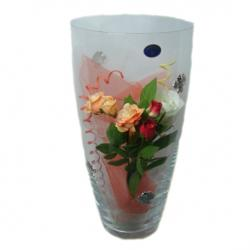 Vaso di cm 30 in cristallo di bohemia con decoro rose in argento 925